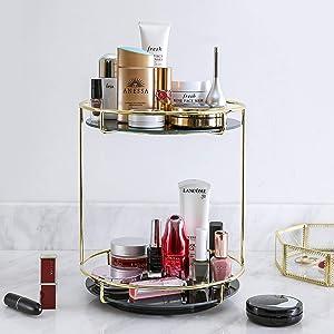 360 Degree 2Layer RotationTray, Bathroom Cosmetic Storage,Rotating Makeup Organizer Tray