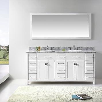 Virtu USA MD 2172 WMSQ WH Caroline Parkway 72 Inch Bathroom Vanity