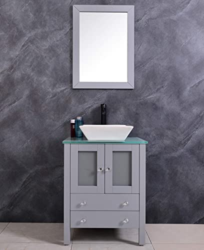 24 INCH WOODEN FLOOR-STANDING BATHROOM VANITY CERAMIC VESSEL SINK BATHROOM MIRROR FAUCET AND DRAIN INCLUDED GREY