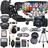 Canon EOS M50 Mirrorless Digital Camera with 15-45mm Lens Kit (Black) + Wide Angle Lens + 2X Telephoto Lens + Flash + SanDisk 32GB SD Memory Card + Video Accessory Bundle