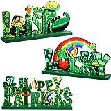 3 Pieces St. Patrick's Day Table Decoration Shamrock Sign Table Centerpiece Leprechaun Decoration Wooden Irish Themed Decors