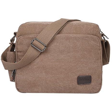 EGOGO Borse a Tracolla Uomo di Tela Borsa a Spalla Vintage Messenger Bag  Sacchetto di Libro bd40cae5d75