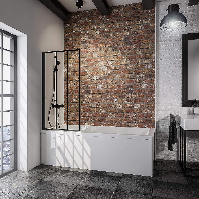 SCHULTE D16503 68 161 Mampara de ducha para bañera, Color negro mate, 1-teilig (70 x 130 cm): Amazon.es: Bricolaje y herramientas