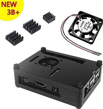 Caja Para Raspberry Pi 3 Modelo B+ Plus Carcasa con Ventilador Disipadores de Calor (Negro): Amazon.es: Electrónica