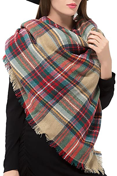 3131770f34 ReachMe Women s Winter Plaid Scarf Tartan Shawl Wrap Cape Knit Blanket  Scarves(1 Green Red