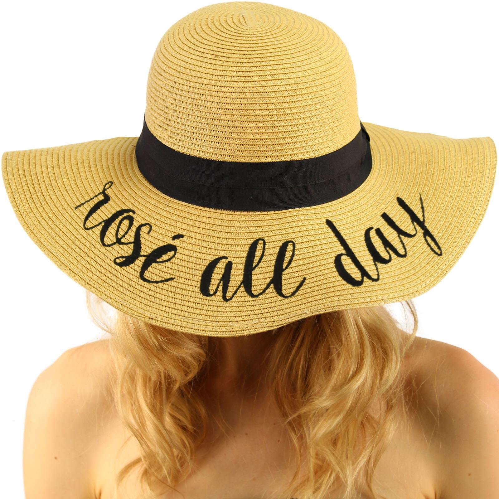 C.C Fun Verbiage Elegant Wide Brim 4 Summer Derby Beach Pool Floppy Dress Sun Hat Natural (Rose All Day)