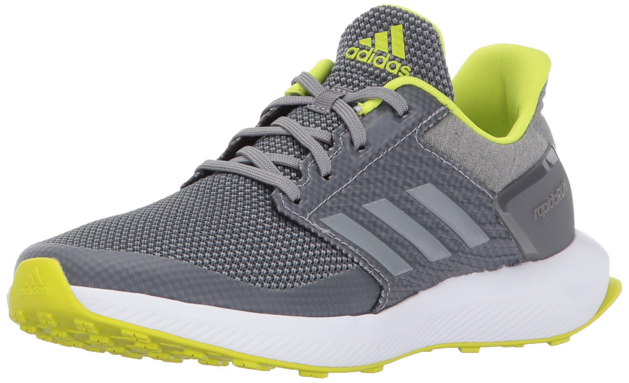 adidas Boys' RapidaRun K Running Shoe, Grey/Grey/Semi Solar Yellow, 13 M US Little Kid