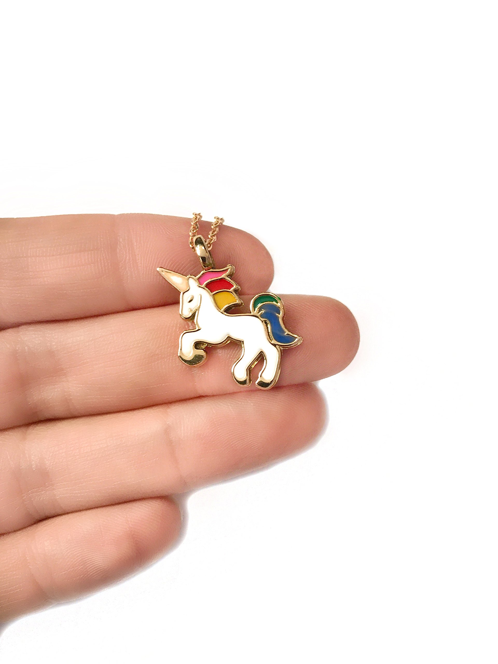 Altitude Boutique Unicorn Necklace Magical Pendant Gift for Girls or for Women Gold Silver Colorful Enamel 4