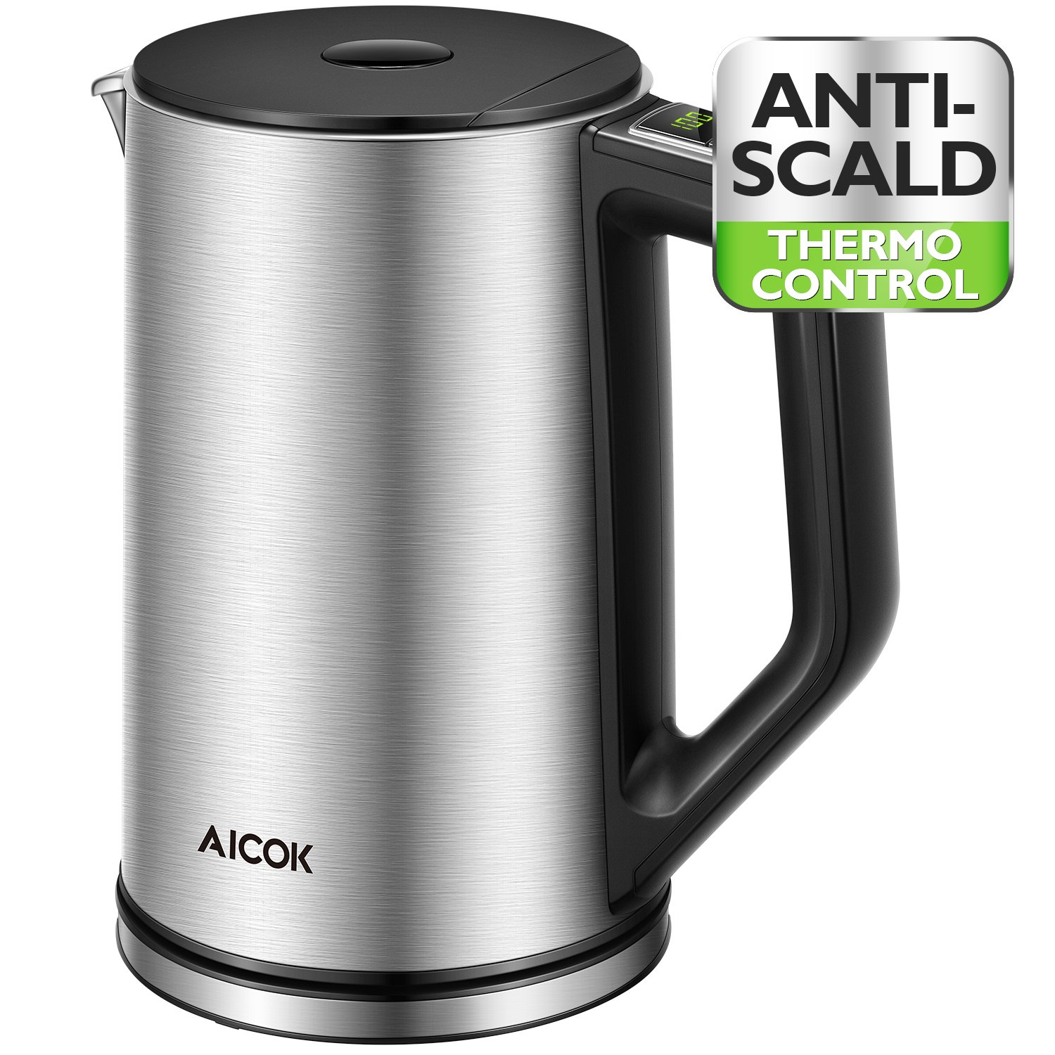 Aicok Electric Kettle Temperature Control, Double Wall Cool Touch Stainless Steel Water Kettle with LED Display from 90 ℉-212℉  BPA-Free   Strix Control   Keep Warm   Quick Boil   (1.5 L, 1500 W)