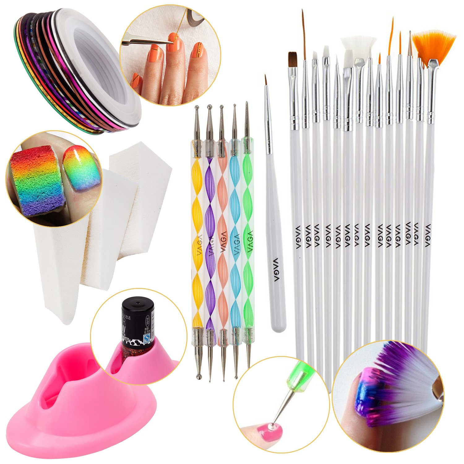 Nail Art Set With 3pcs Manicure Gradient Designs Stamping Wedges, Silicone Anti Spill Slip Polish Bottles Holder, 5 Dotting Tools, 10 Rolls of Colourful Striping Tapes And 15 Nailart Brushes By VAGA