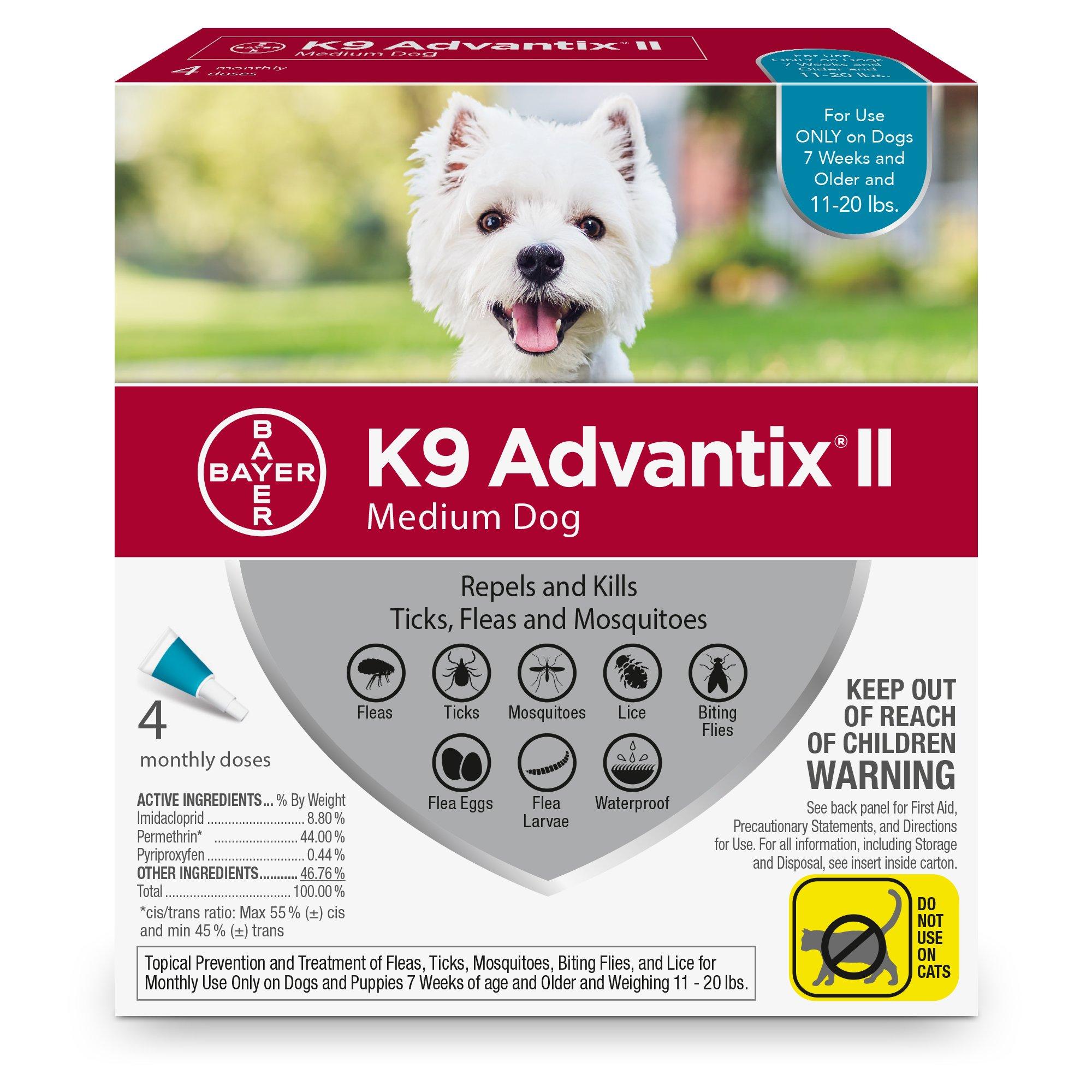 Bayer K9 Advantix II Flea, Tick and Mosquito Prevention for Medium Dogs, 11 - 20 lb, 4 doses