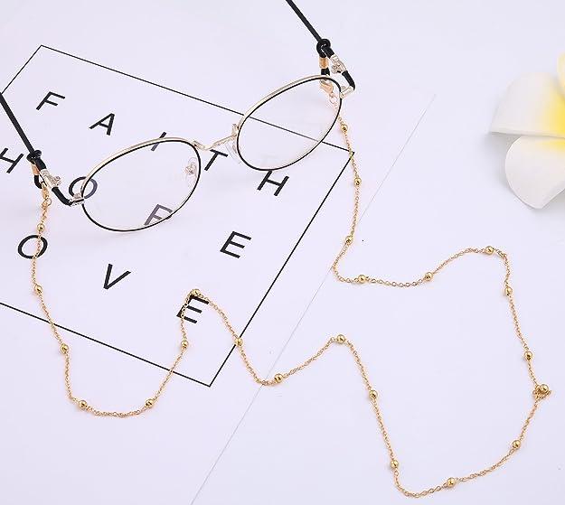 b6a0942c76342 LIKGREAT Lunettes en Forme de chaîne Femme Perles Cordons de Lunettes de Lecture  Lunettes de Soleil Sangle Gold