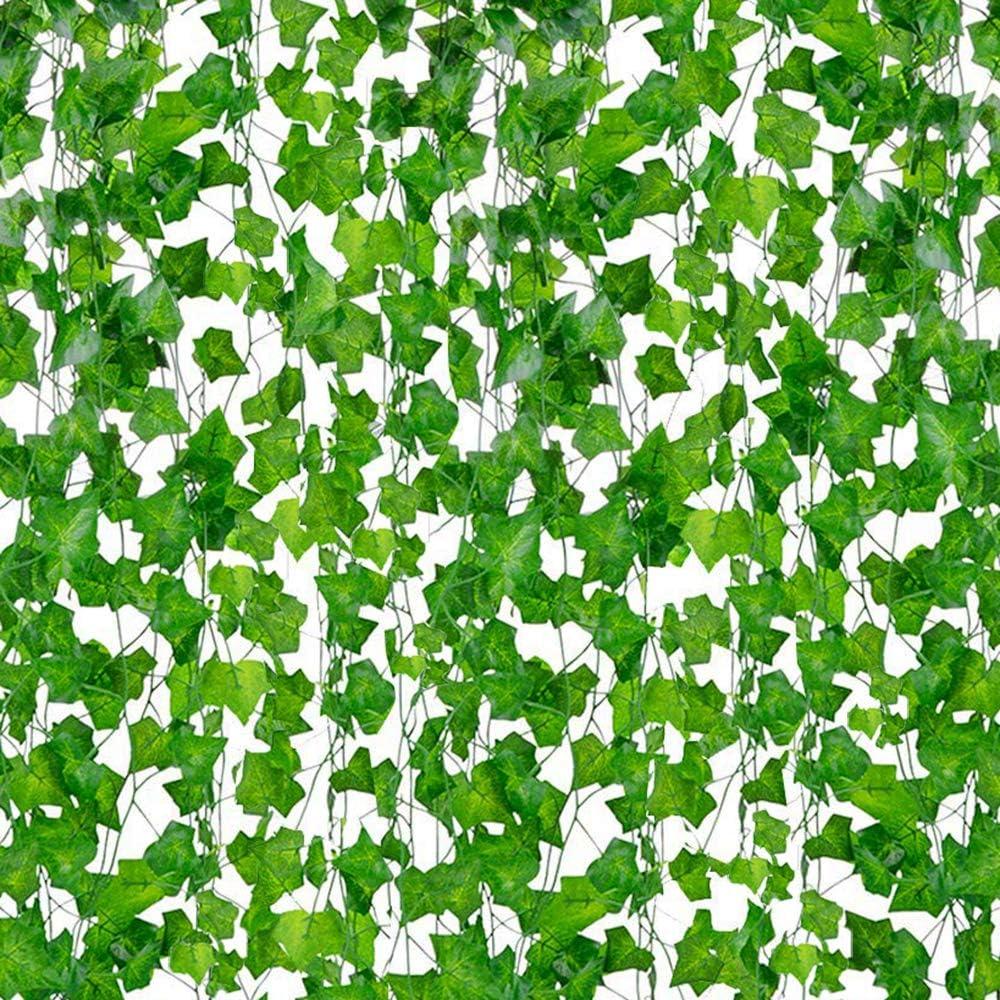 DazSpirit Plantas Hiedra Artificial, 84 Ft-12 Pack Planta De Hiedra Artificial Garland Plants Vine Colgando Follaje Hojas Verdes Flores para El Hogar Jardín Decoración De La Pared De La Casa Boda