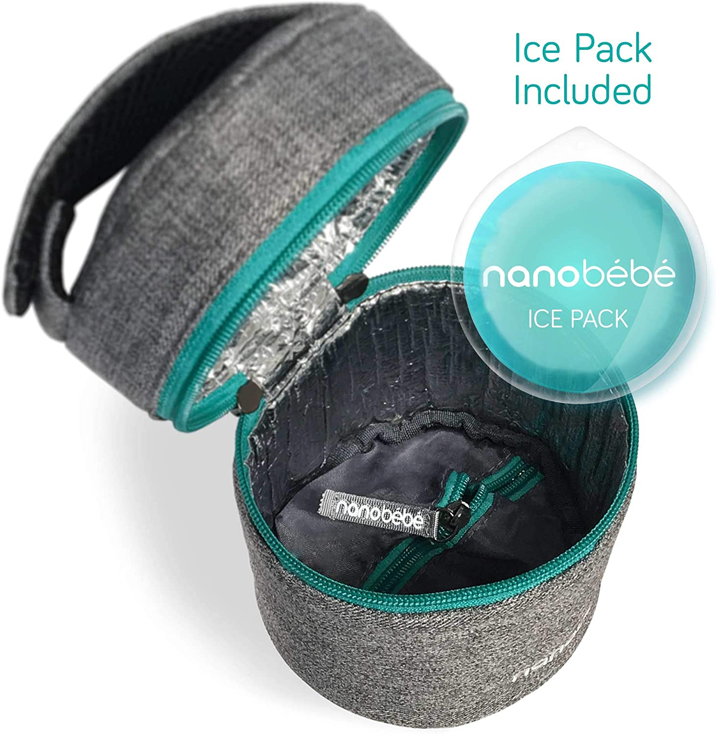 Grey Compact Triple Insulated nanobebe Breastmilk Baby Bottle Cooler /& Travel Bag with Ice Pack Included Easily attaches to Stroller or Diaper Bag