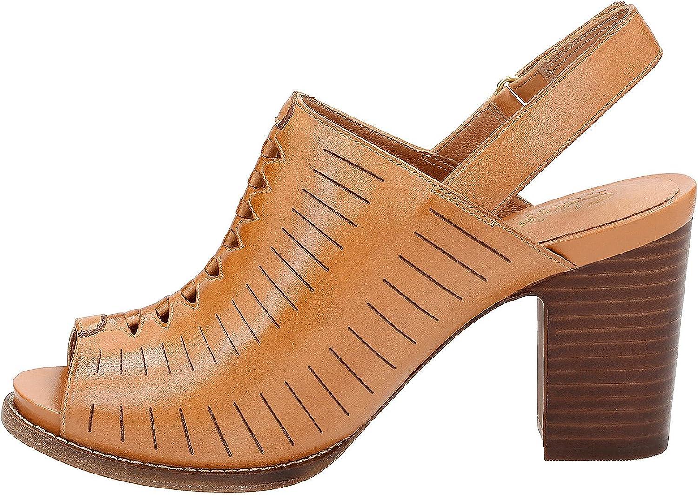 Clarks Femmes Sandales À Talon Light Tan Leather