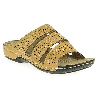 Frau Damen Offener Zeh Beiläufig Komfort Mittel Keilabsatz Leicht Flacher Slip-on Sandale Schwarz Schuhe Größe 37 AARZ LONDON IObEgQ