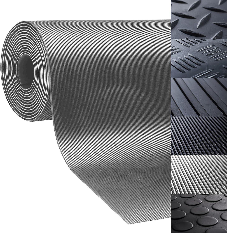 Floordirekt Noppenmatte Geruchsarm Bodenmatte Gummil/äufer 3mm dick Gummimatte Flachnoppen Schwarz 100 cm x 100 cm, Grau