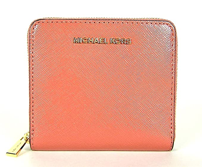 edbe7056ee20 Image Unavailable. Image not available for. Colour  MICHAEL MICHAEL KORS  Jet Set Travel Patent Leather Card Holder Zip Wallet (Antique Rose)