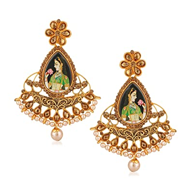 47e1d57322e Buy Rich Lady Gold Plated Picture Bollywood Padmavati Indian Traditional  Earrings for Girls and Women Online at Low Prices in India