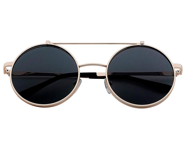 J/&L GLASSES Retro Gafas Para Hombres Mujeres Lente Negro Gafas Gafas de Sol Unisex Adulto Steampunk Flip-up