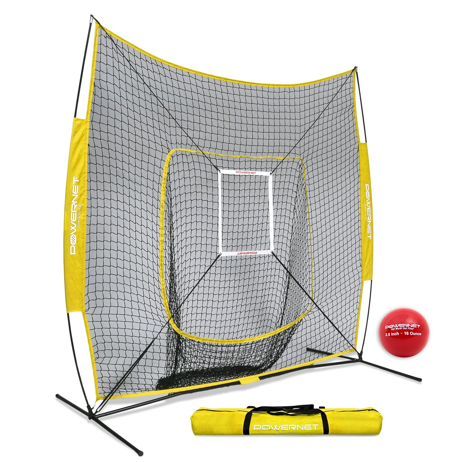 PowerNet DLX 7x7 Baseball Softball Hitting Net + Weighted Heavy Ball + Strike Zone Bundle (Yellow) | Training Set | Practice Equipment Batting Soft Toss Pitching | Team Color | Portable Backstop by PowerNet