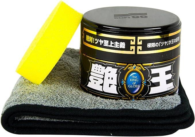 Soft99 The King Of Gloss Black Wax Seal 300 G Sponge And Polishing Cloth Auto