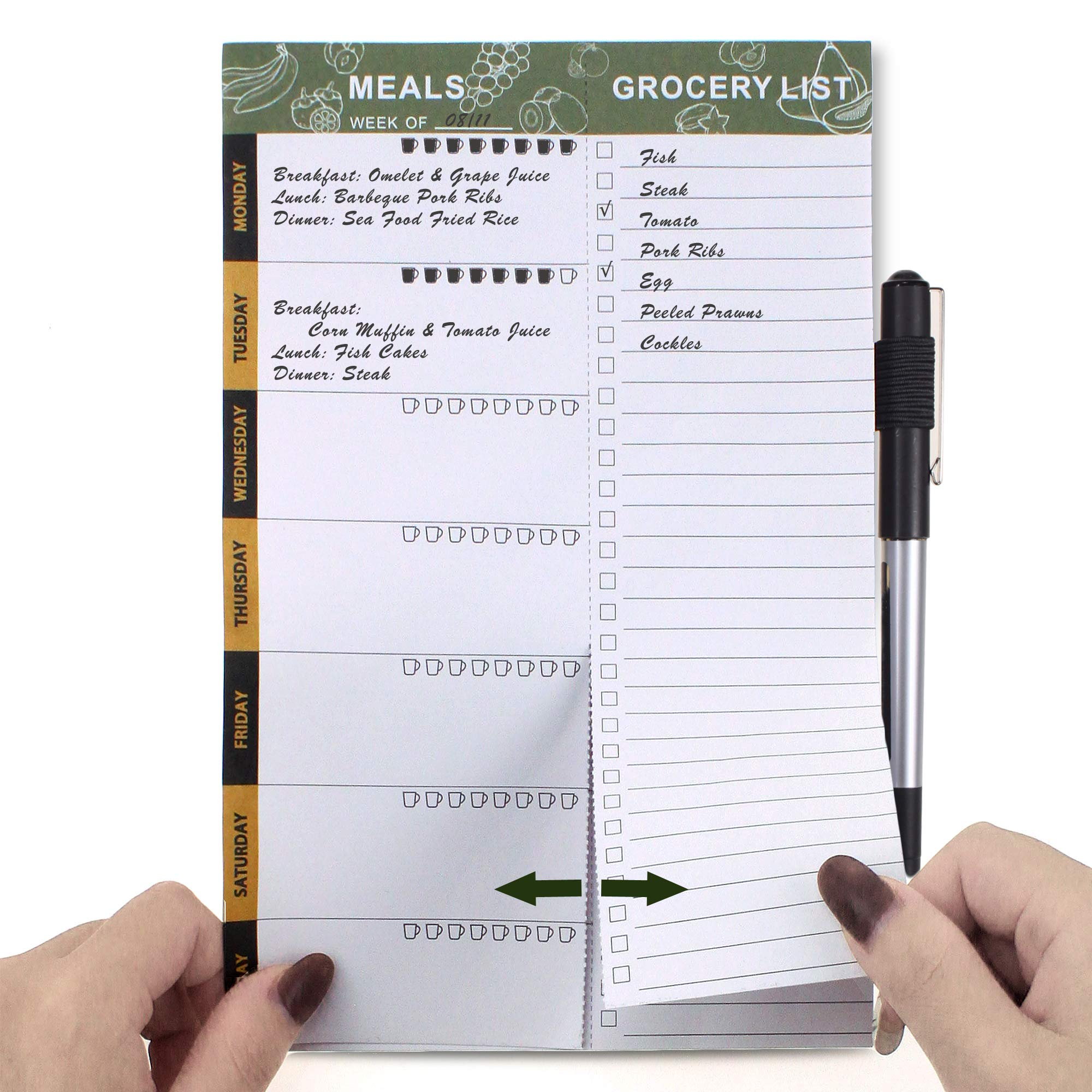 SynLiZy Weekly Meal Planners Meal Planning Pad Magnetic Menu Planner for Refrigerator Door with Perforated Tear-Off Grocery Shopping Lists 6″x 9″