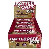 Battle Oats High Protein Gluten Free Flapjacks Protein Bar, New Low Sugar Formula, Berry Fusion, 12 x 70g
