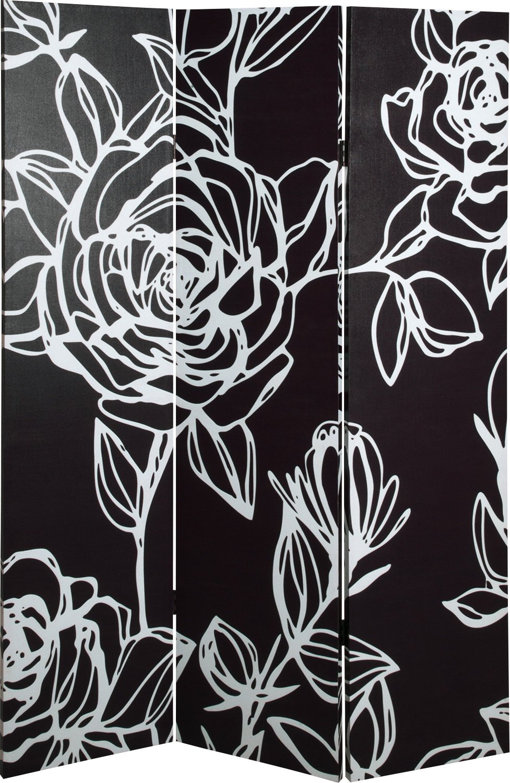 Haku Möbel 30945 Paravent Bois Massif Sapin-Toile Noir-Blanc