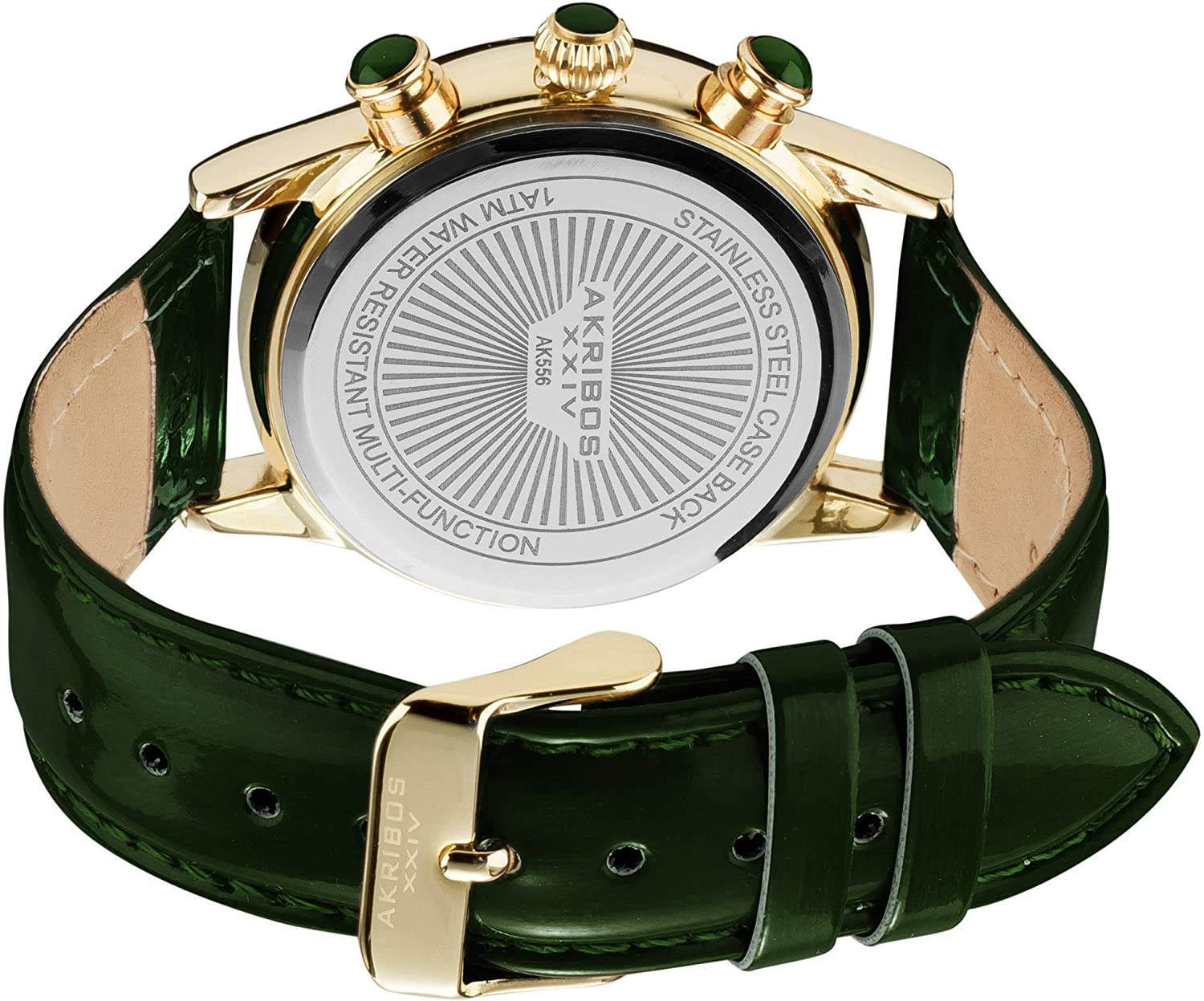 Akribos XXIV Women's AK556 Dazzling Swiss Multifunction Strap Watch Green