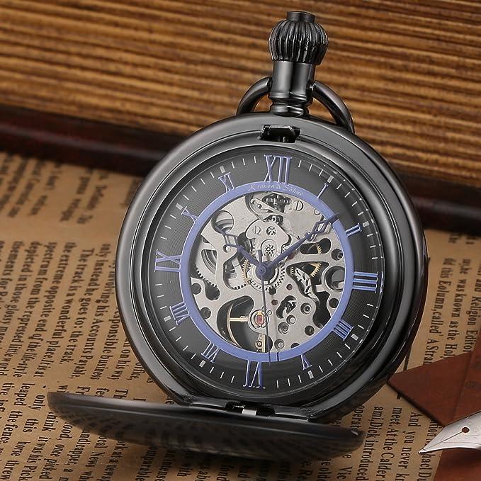 KS Reloj de Bolsillo Hombre con Cadena antiguos Steampunk Esqueleto Mecánico con Caja de Regalo color Negro KSP089: Amazon.es: Relojes