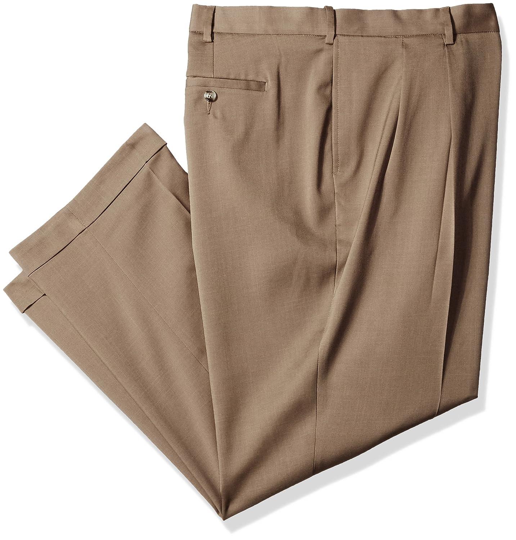 Savane Men's Big & Tall Pleated Stretch Crosshatch Dress Pant Savane Men's Bottoms SWBS7077