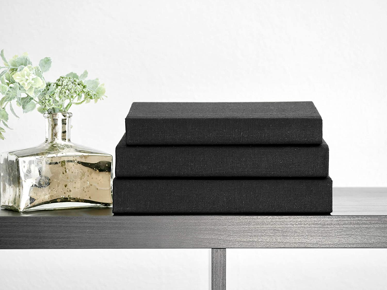 Shop Black Linen Covered Decorative Books for Display (Set of 3) from Amazon on Openhaus