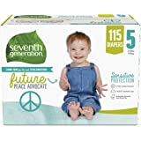 Seventh Generation Free & Clear Baby Diapers with Animal Prints Size 5, 27+ lbs 115 count