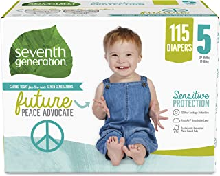 product image for Seventh Generation Baby Diapers, Size 5, 115 count for Sensitive Skin (Packaging May Vary)