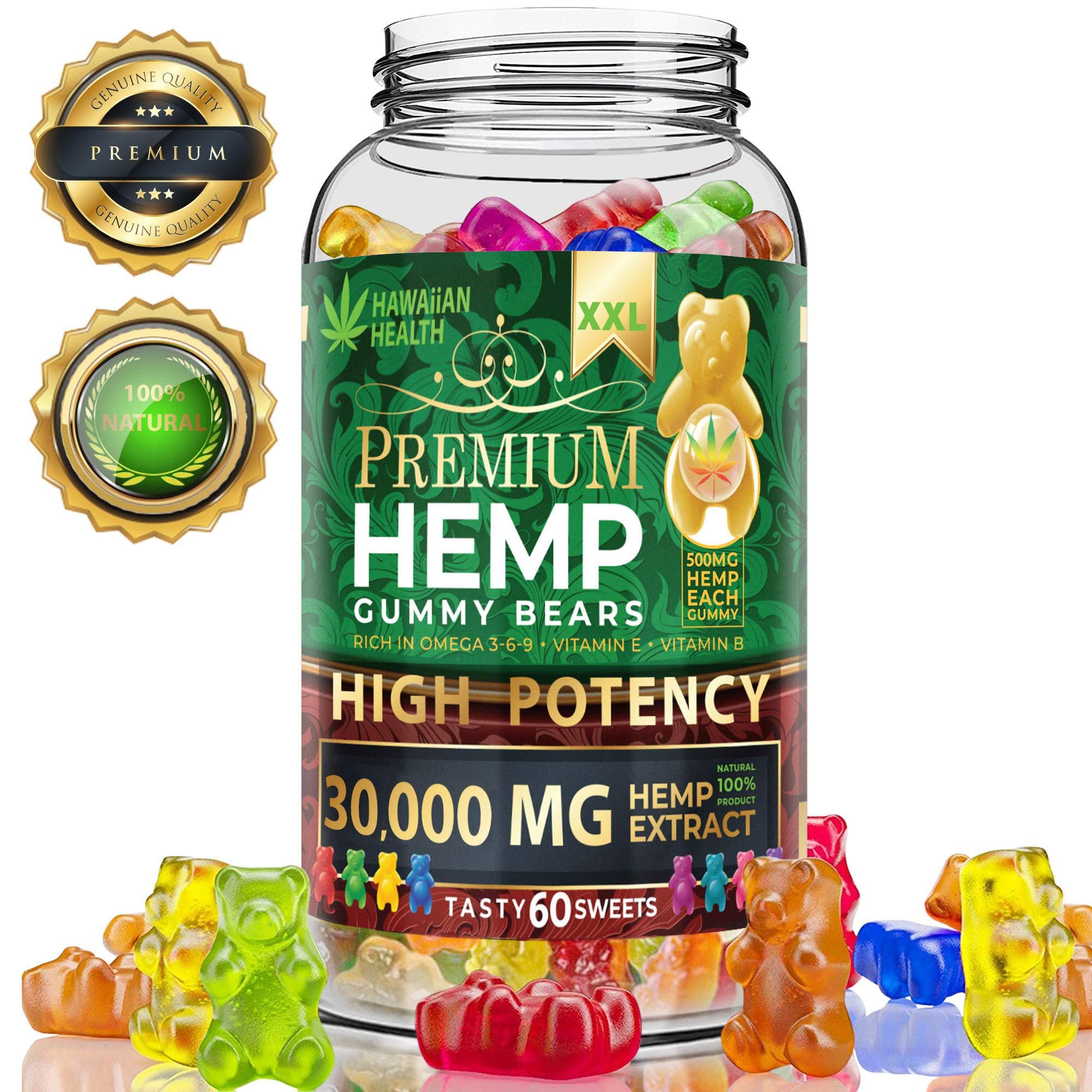 Hemp Gummies Premium XXL 300000 High Potency – Fruity Gummy Bear with Hemp Oil | Natural Hemp Candy Supplements for Pain, Anxiety, Stress & Inflammation Relief | Promotes Sleep & Calm Mooв