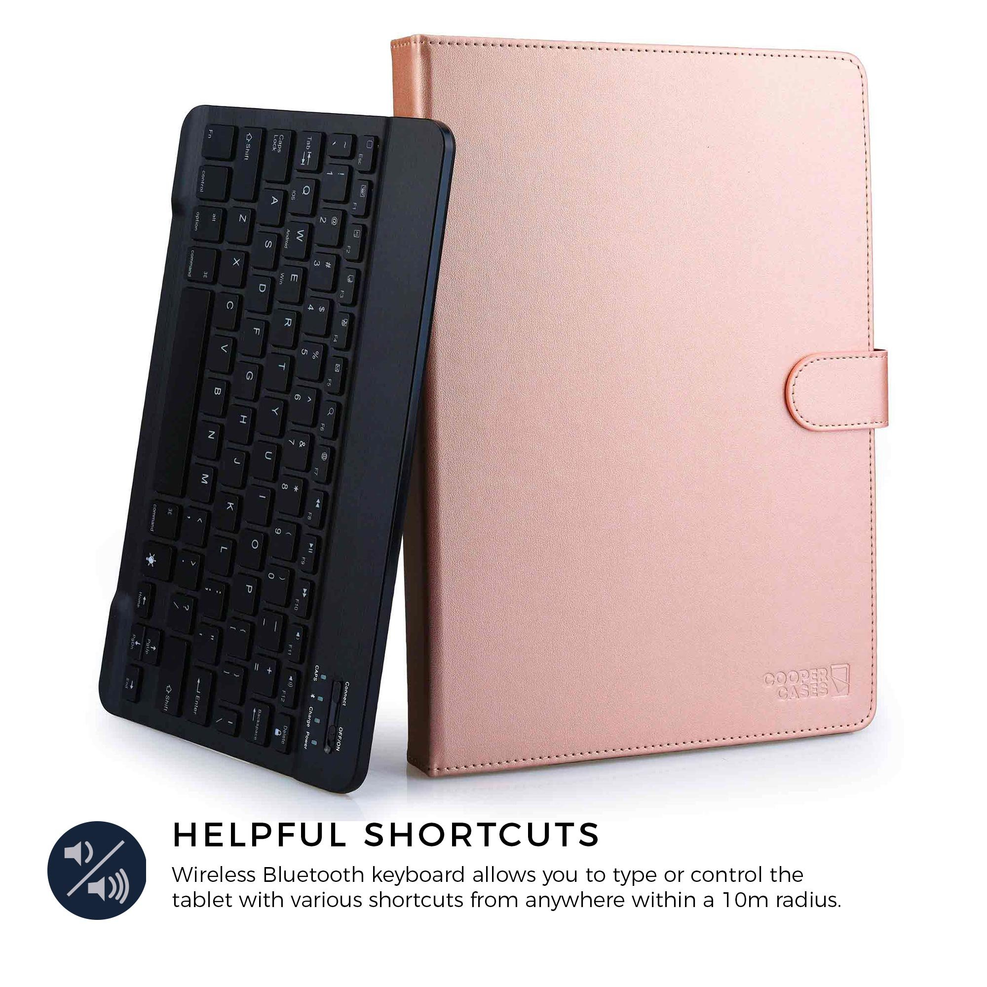 COOPER BACKLIGHT EXECUTIVE Keyboard case for 9'', 10'', 10.1'' inch tablets   2-in-1 Bluetooth Wireless Backlit Keyboard & Leather Folio Cover   7 Color LED Keys, 100HR Battery, 14 Hotkeys (Rose Gold) by Cooper Cases (Image #4)