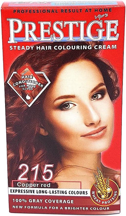 Vips prestige crema colorante para el cabello, color rojo cobrizo 215