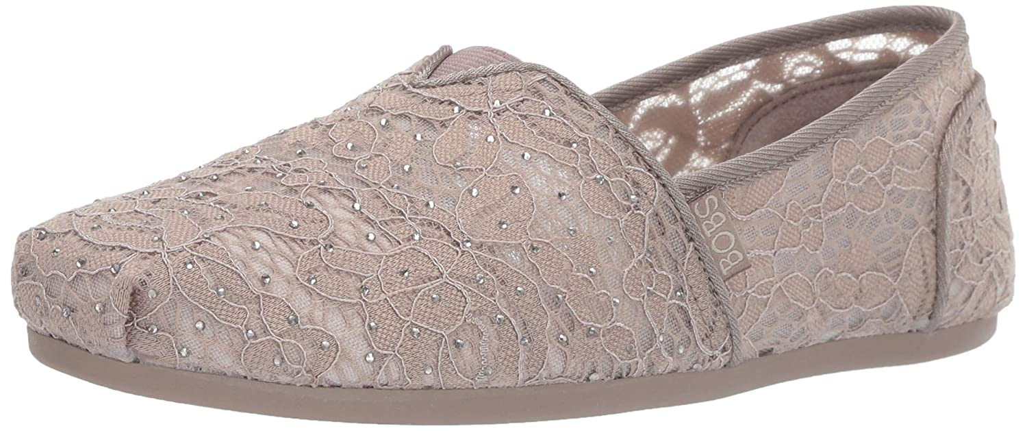 Tpe Skechers Womens Bobs Plush - Rhinestone and Lace Slip on Ballet Flat