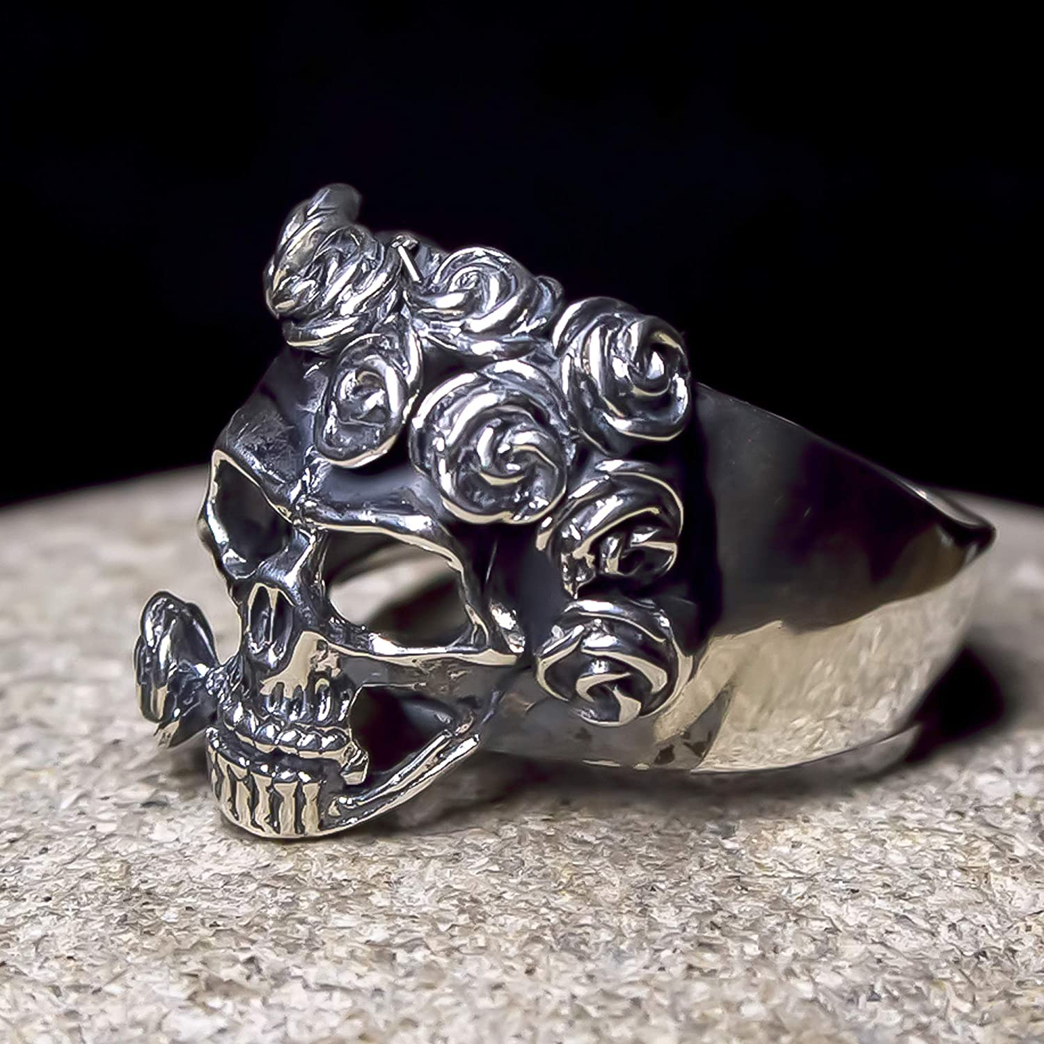 mirror polished ring Skull Silver Ring Sterling silver 925-biker gothic rock jewelry