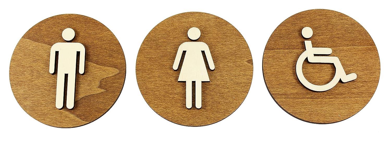 WC scudo marrone colore noce in legno toilette toilette Targa fuori porta uomo e donna, Legno, Damen+Herren, Ø 12cm Manschin Laserdesign