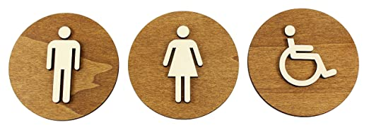 WC Cartel marrón color nogal Madera de WC Cartel para puerta cartel Mujer Hombre, madera, Damen+Herren+Behinderten, Ø 12cm