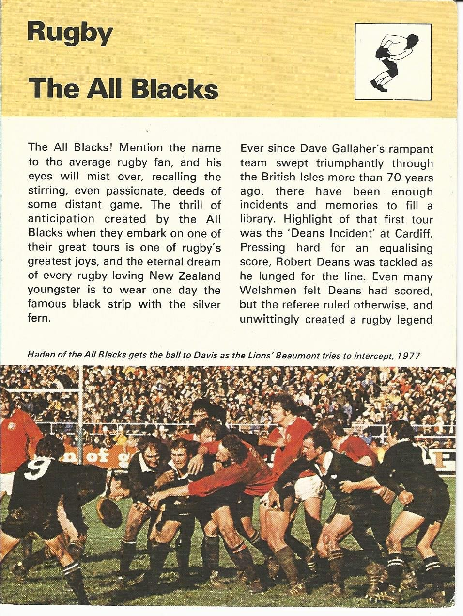 1977-79 Sportscaster Card, 992.101 Rugby, The All Blacks