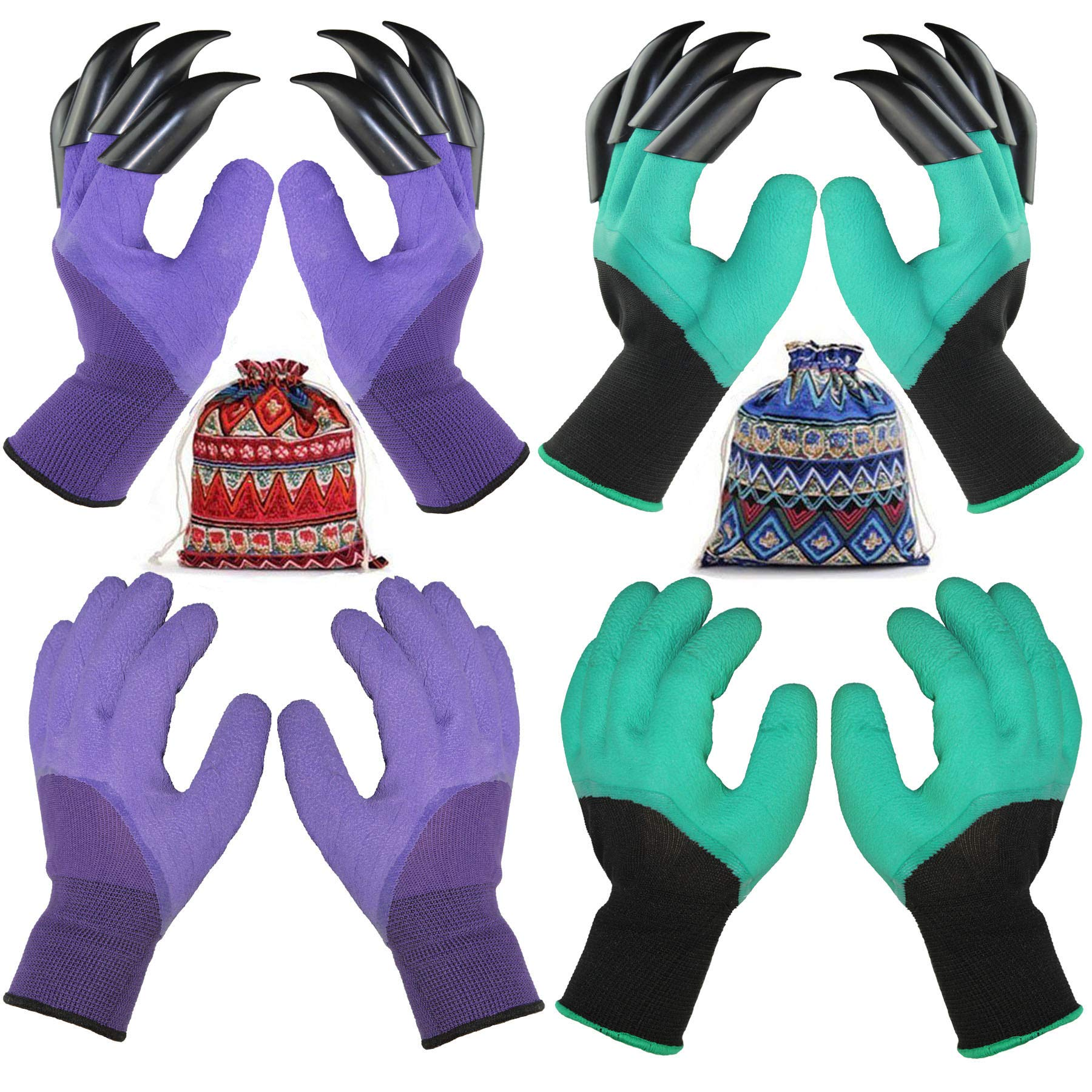 4 Pairs Garden Gloves with Fingertips Claws,Best Gift for Gardener,2 Pairs Working Genie Gloves with Double Claws,2 Pairs Without Claws,for Digging and Planting,Breathable. (4 Pairs Purple and Green)