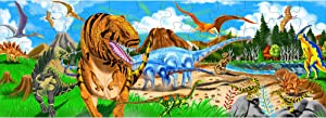 Melissa & Doug Land of Dinosaurs Floor Puzzle (Easy-Clean Surface, Promotes Hand-Eye Coordination, 48 Pieces, 4 Feet Long, Great Gift for Girls and Boys - Best for 3, 4, 5, and 6 Year Olds)
