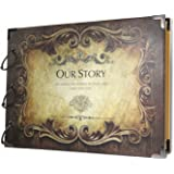 SiCoHome Scrapbook Album,Our Story with Scrapbooking Storage Box, Sheet Protectors and Scrapbooking Supplies for Gifts,Photo Storage,Wedding Guest Book and Travel Record