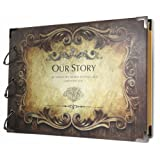 SiCoHome Scrapbook Album Our Story with Scrapbooking Storage Box and Scrapbooking Supplies for Gifts,Photo Storage,Wedding Guest Book and Travel Record