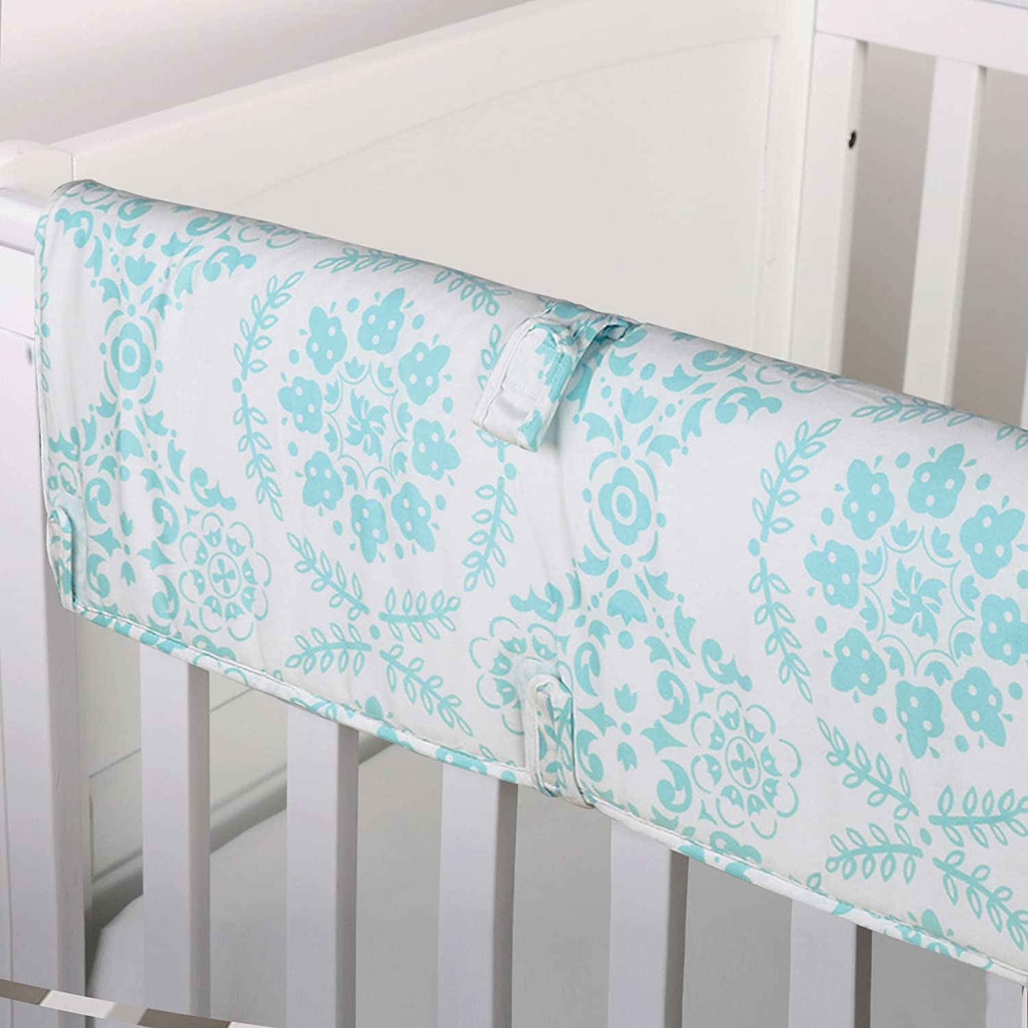 Coral Pink Medallion 100% Cotton Padded Crib Rail Guard by The Peanut Shell Farallon Brands RGMDCL