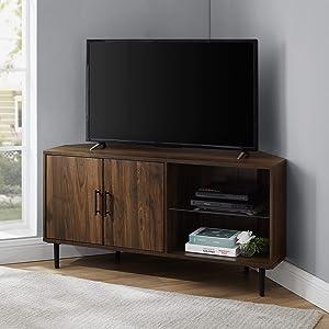 "Walker Edison 2 Door Glass Shelf Corner Stand Console, fits TVs up to 55"", 48, Dark Walnut"