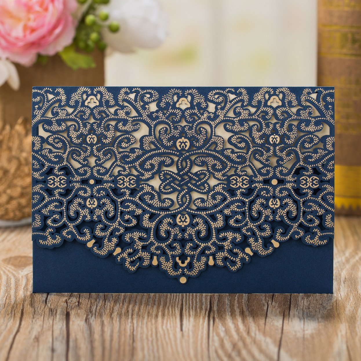 50pcs Elegant Laser Cut Wedding Invitations Cards with Envelopes and Stickers (Dark Blue)